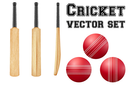curve ball: Set of Traditional wood cricket bats and balls.