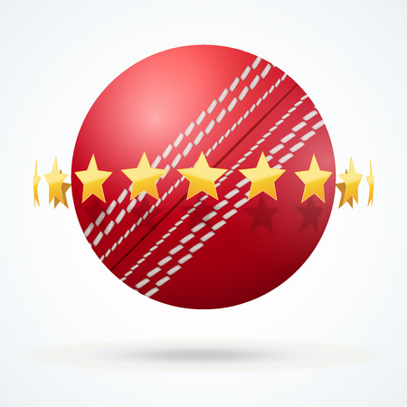 criket: illustration of symbol cricket leather ball with golden stars.