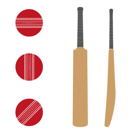 cricket game: Set of Traditional wood cricket bats and balls. Illustration