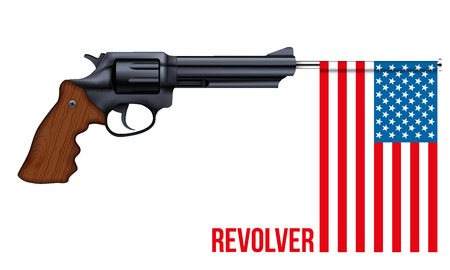 gunshot: Big Revolver with USA flag. Illustration