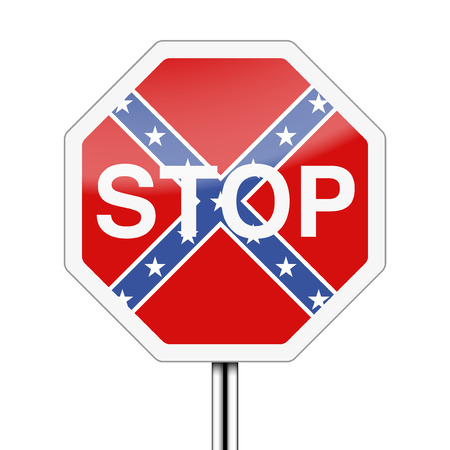 caution sign: Ban on the Confederate flag inside stop sign.  Illustration