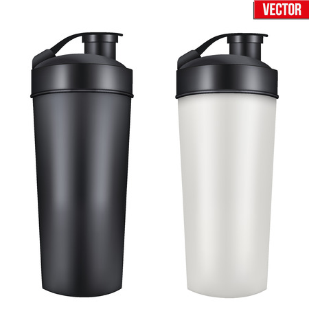 mamadera: Maqueta de pl�stico Sport Nutrition botella de la bebida. De prote�na de suero y Gainer. Ilustraci�n del vector aislado en el fondo blanco