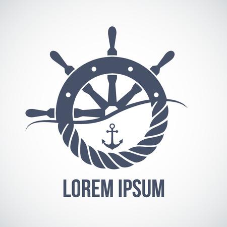 timon barco: Prima logo Yate náutico. Ilustración del vector aislado en el fondo blanco. Vectores