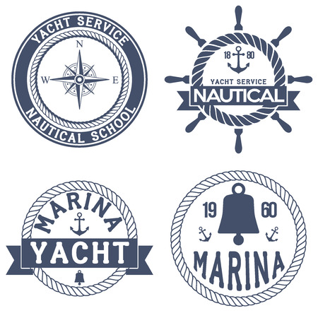 Set of Nautical Yacht badges. Vector Illustration isolated on white background. Ilustracja