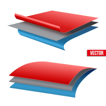 Technical illustration of a three-layer fabric. Demonstration of the structure of the material. Vector Illustration isolated on white background
