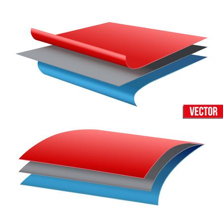 Technische illustratie van een drielaags materiaal. Demonstratie van de structuur van het materiaal. Vector illustratie op een witte achtergrond
