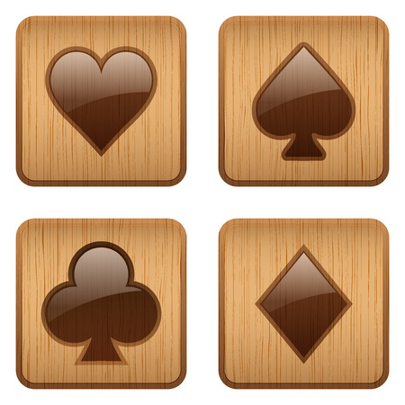 wager: Wooden square Icons set of four card suits. Symbols of gambling and casino. Vector Illustration, editable and isolated on white background.