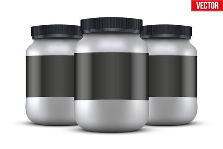 gainer: Mockup Background of Sport Nutrition Container. Silver Plastic Whey Protein and Gainer. Vector Illustration isolated on white background