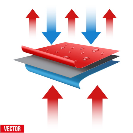 Technical illustration of a three-layer waterproof and thermo fabric. Demonstration of the structure of the material. Vector Illustration isolated on white background  イラスト・ベクター素材