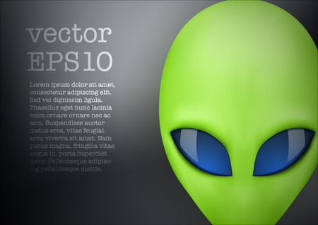 lifeform: Background Alien green head creature from another world. Vector illustration isolated on white background. Illustration