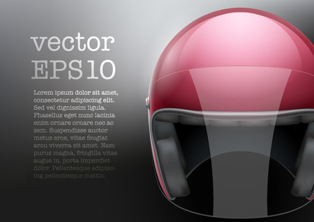visor: Background of red motorcycle or scooter helmet with glass  visor. Vector Illustration of safety. Illustration
