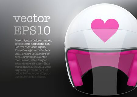 visor: Background of white motorcycle or scooter woman helmet with glass  visor. Vector Illustration of safety.