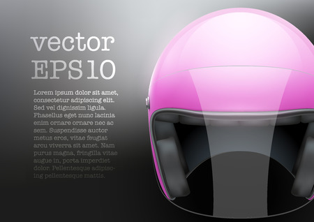 visor: Background of pink motorcycle or scooter woman helmet with glass  visor. Vector Illustration of safety.