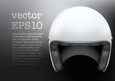 Background of white motorcycle or scooter helmet with glass  visor. Vector Illustration of safety.