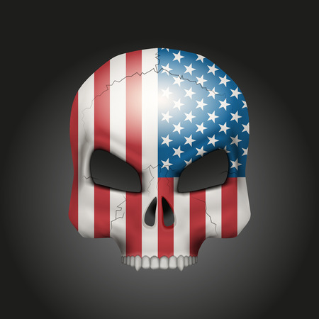 us air force: Skull with texture USA flag. Vector Illustration isolated on background.