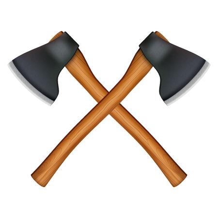 iron cross emblem: Crossed classic axes lumberjack. Vector Illustration isolated on white background