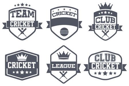 icehockey: Set of Vintage Cricket Club Badge and Label with helmets. Emblem of sport team and event. Vector icons isolated on background.