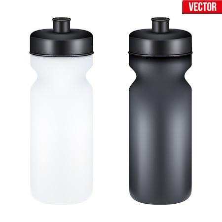 botella: Maqueta de pl�stico Sport Nutrition botella de la bebida para la aptitud. De prote�na de suero y Gainer. Ilustraci�n del vector aislado en el fondo blanco