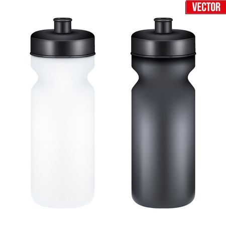 beverages: Mockup Plastic Sport Nutrition Drink Bottle for fitness. Whey Protein and Gainer. Vector Illustration isolated on white background
