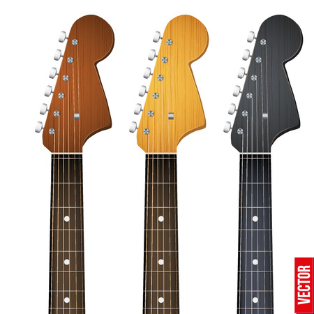 Set of Rock Electro Guitars neck fretboard and headstock. Vector Illustration isolated on white background.