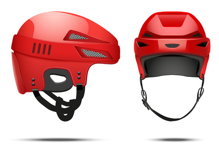 icehockey: Classic red Hockey Helmet. Front and side view. Sports Vector illustration isolated on white background.