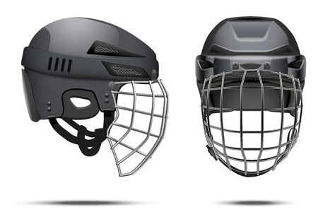 visor: Classic Black Goalkeeper Hockey Helmet with glass visor. Front and side view. Sports Vector illustration isolated on white background. Illustration