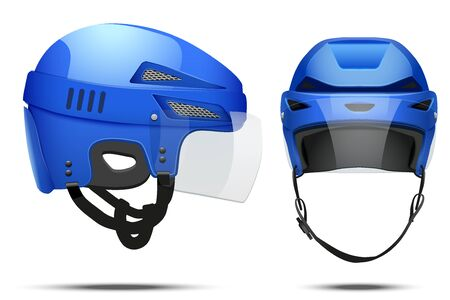 visor: Classic blue Hockey Helmet with glass visor. Front and side view. Sports Vector illustration isolated on white background.