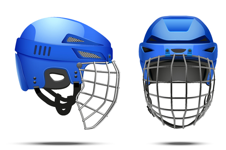visor: Classic Blue Goalkeeper Hockey Helmet with metal protect  visor. Front and side view. Sports Vector illustration isolated on white background. Illustration