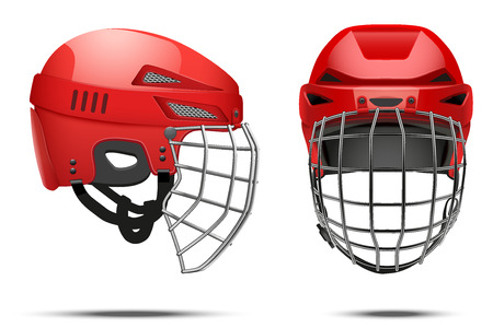 casco rojo: Rojo clásico Portero Hockey Casco con el metal a proteger visera. Vista frontal y lateral. Ilustración Deportes vector aislado en el fondo blanco.