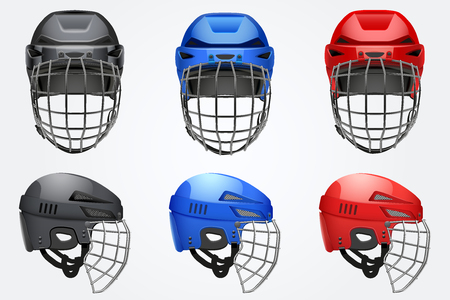 Set of Classic Goalkeeper Hockey Helmet with metal protect  visor. Front and side view. Sports Vector illustration isolated on white background.