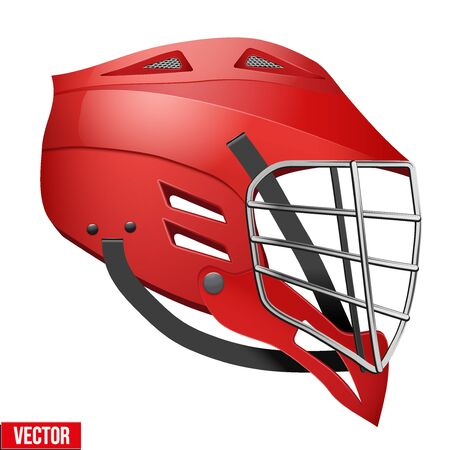 lacrosse: Red Lacrosse Helmet Side View. Sports Vector illustration isolated on white background.
