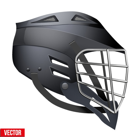 sports helmet: Black Lacrosse Helmet Side View. Sports Vector illustration isolated on white background.