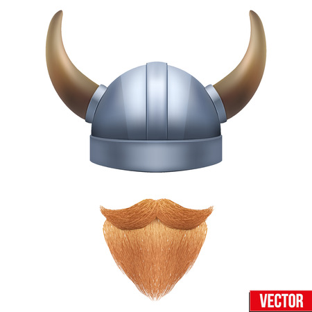 crusades: Viking symbol with horned helmet and ginger beard. Vector illustration isolated on white background. Illustration