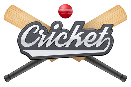 criket: Vector illustration of cricket leather ball and wooden bats. Symbol of sports. Isolated on white background.