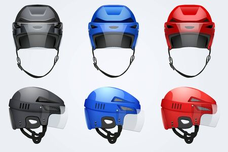 icehockey: Set of Classic Hockey Helmets with glass visor. Front and side view. Sports Vector illustration isolated on white background. Illustration