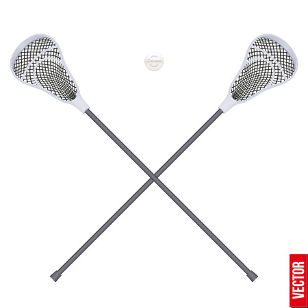 lacrosse: Lacrosse  sticks and ball. Sport Equipment Front View. Vector illustration isolated on white background.