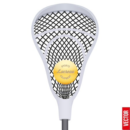 lacrosse: Lacrosse ball inside stick. Sport Equipment Front View. Vector illustration isolated on white background.