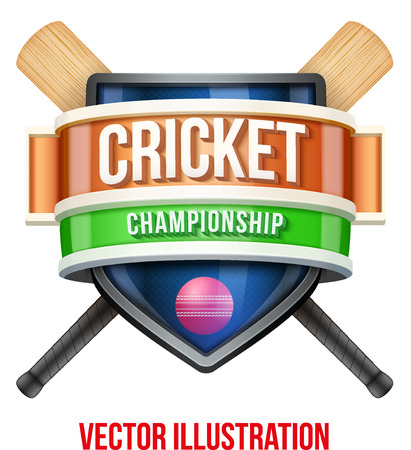 cricket: Label for cricket sport competition. Bright premium quality design. Editable Vector Illustration isolated on white background.