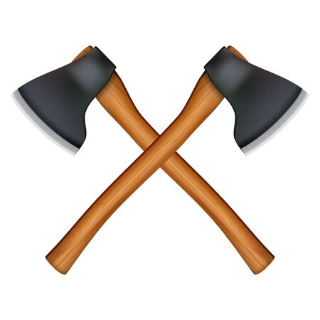 lumber: Crossed classic axes lumberjack. Illustration isolated on white background Stock Photo