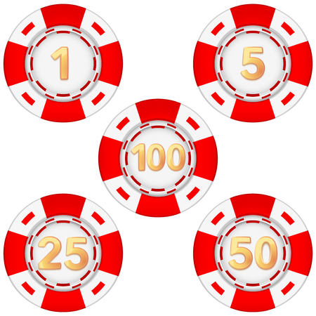 gambling chips: Set of gambling chips rated. Illustration isolated on white background.