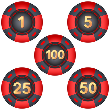 toke: Set of gambling chips rated. Illustration isolated on white background.