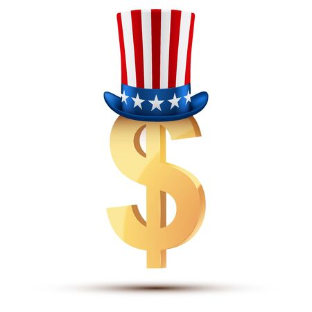 uncle sam hat: Symbol of the American dollar in Uncle Sam hat. Stock Photo
