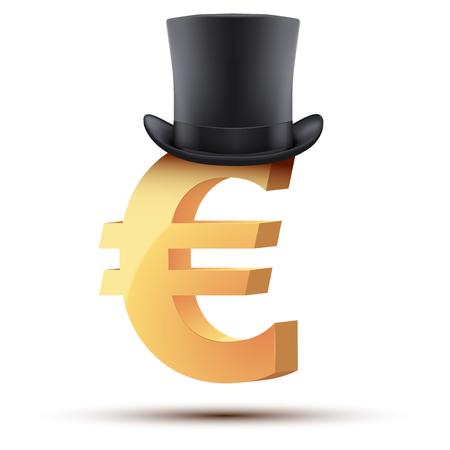 european euro: Symbol of the european euro in cylinder hat.