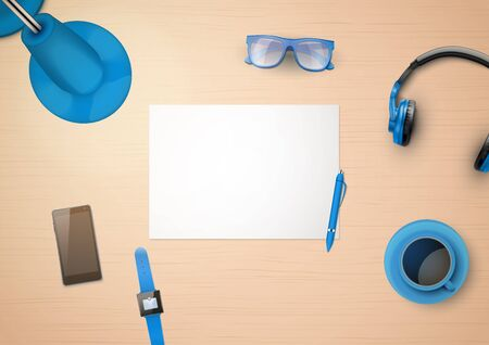 OFFICE DESK: Creative workplace with white paper and stylized in blue color household items and gadgets. Top view.