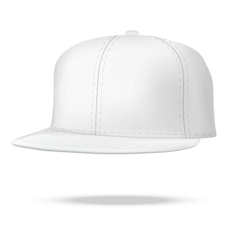 sported: Layout of Male white rap cap. A template simple example. Illustration isolated on white background. Stock Photo