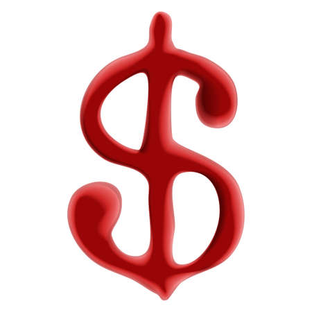blackmail: Red blood dollar sign on white background.