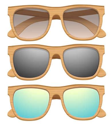 wayfarer: Set of Vintage sunglasses with wooden frame. Retro style.