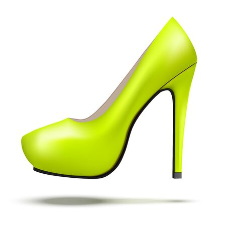 high heels: Lime vintage high heels pump shoes. Illustration isolated on white background.