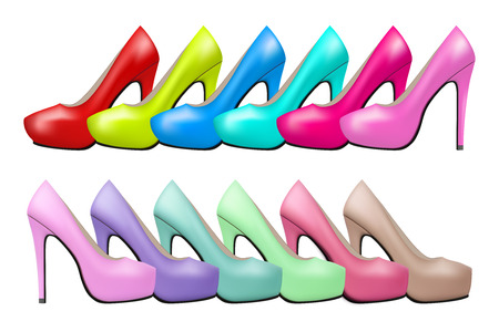 high heels: Background of Bright modern and vintage high heels pump woman shoes. Illustration isolated on white background. Stock Photo