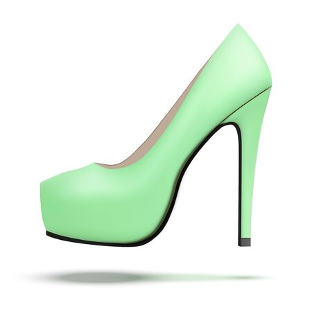 high heels: Green vintage high heels pump shoes. Illustration isolated on white background. Stock Photo